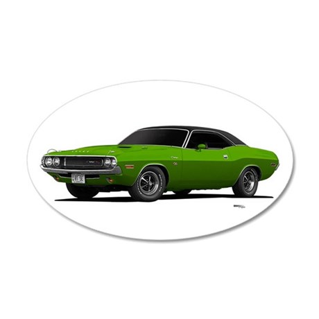 1970 Challenger Green Go 22x14 Oval Wall Peel