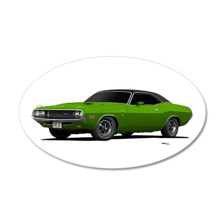 1970 Challenger Green Go 38.5 x 24.5 Oval Wall Pee