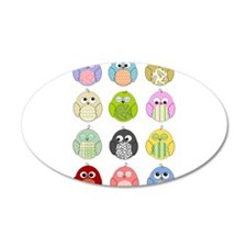 Cute Owls 22x14 Oval Wall Peel