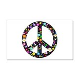 Hippie Flowery Peace Sign Car Magnet 20 x 12