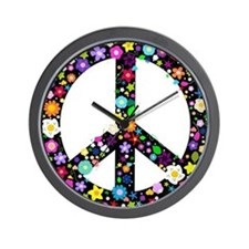 Hippie Flowery Peace Sign Wall Clock
