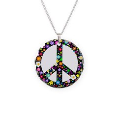 Hippie Flowery Peace Sign Necklace Circle Charm
