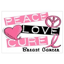PEACE LOVE CURE Breast Cancer (L1) Wall Art