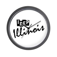I rep Illinois Wall Clock