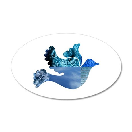 Blue Bird - Dove in flight 38.5 x 24.5 Oval Wall P