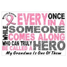 HERO Comes Along 1 Grandma BREAST CANCER Framed Pa
