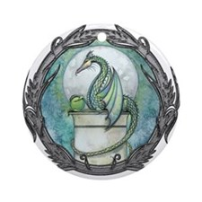 Green Dragon Fantasy Art Ornament (Round)