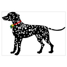 Christmas or Holiday Dalmatian Silhouette Framed P