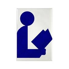 Blue Tinfoil Library Logo Rectangle Magnet (100 pa