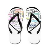 Heart Love in different langu Flip Flops