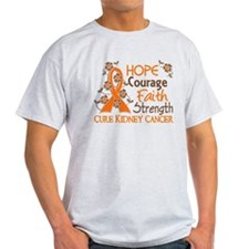 Hope Courage Faith 3 Kidney Cancer T-Shirt