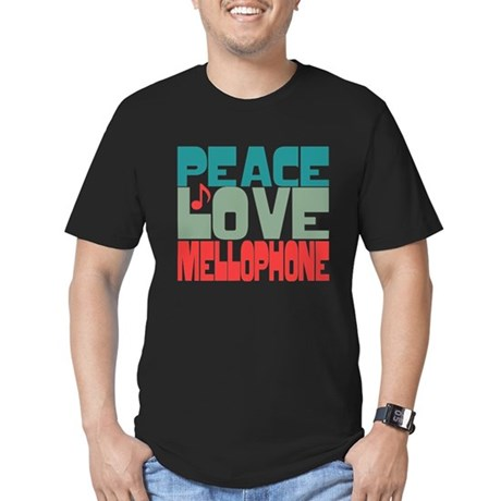 Peace Love Mellophone Men's Fitted T-Shirt (dark)