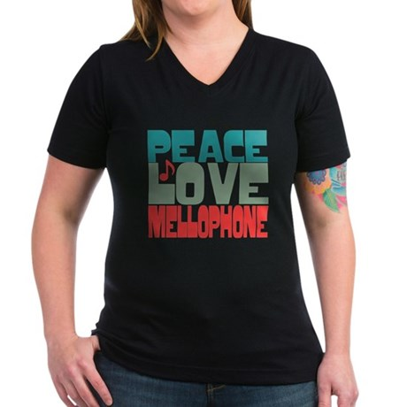 Peace Love Mellophone Women's V-Neck Dark T-Shirt