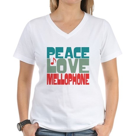 Peace Love Mellophone Women's V-Neck T-Shirt