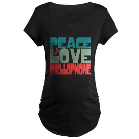 Peace Love Mellophone Maternity Dark T-Shirt