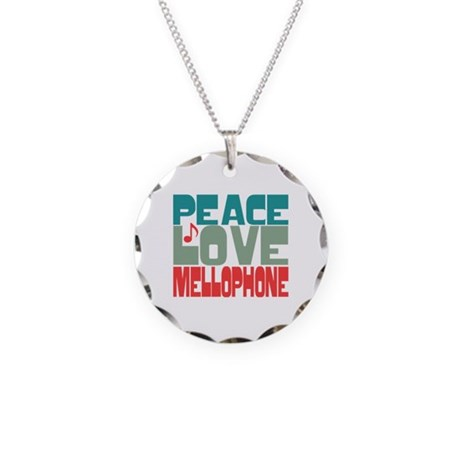 Peace Love Mellophone Necklace Circle Charm