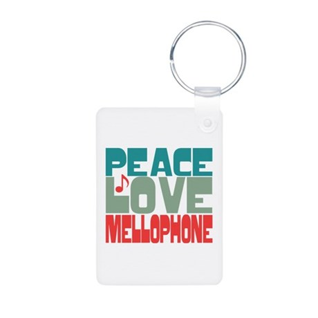 Peace Love Mellophone Aluminum Photo Keychain