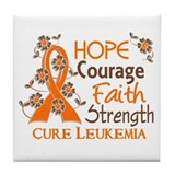 Hope Courage Faith 3 Leukemia Tile Coaster