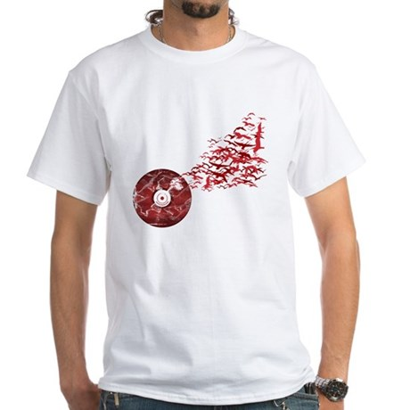 Vinyl Music Birds White T-Shirt