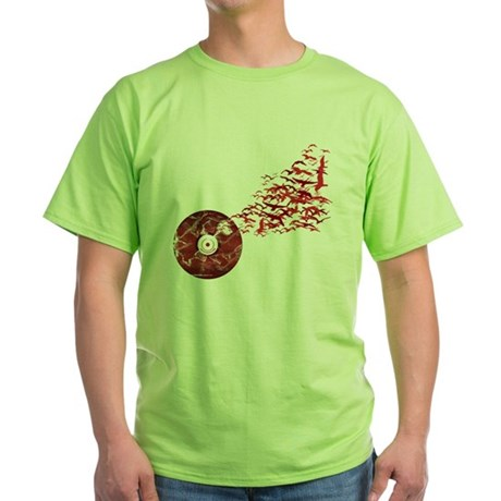 Vinyl Music Birds Green T-Shirt