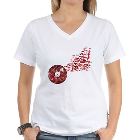 Vinyl Music Birds Women's V-Neck T-Shirt