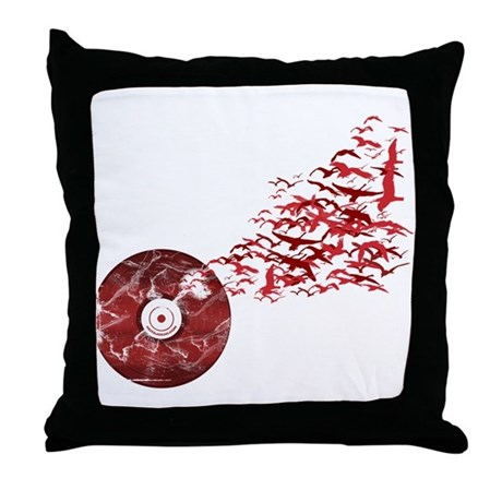 Vinyl Music Birds Throw Pillow