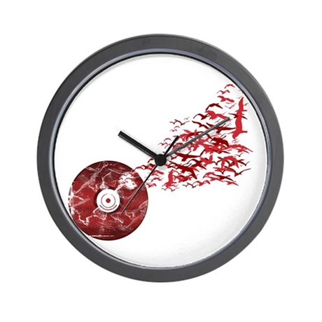 Vinyl Music Birds Wall Clock