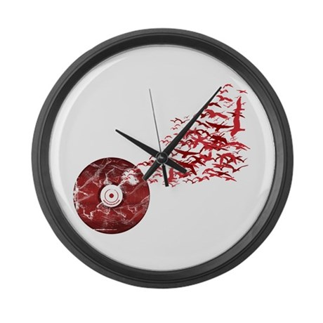 Vinyl Music Birds Large Wall Clock