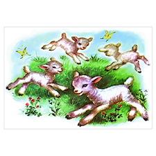 Cute Sheep Baby Lambs Wall Art
