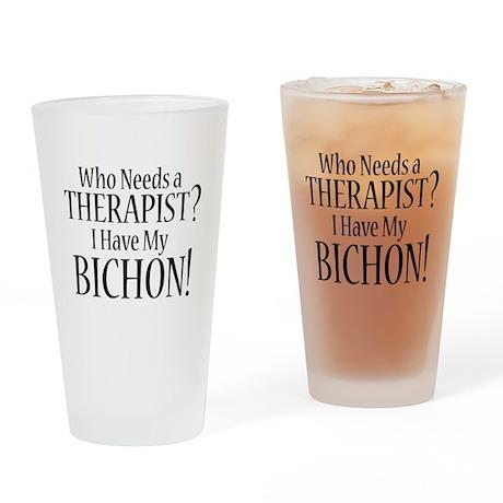 THERAPIST Bichon Drinking Glass