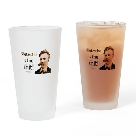 """Nietzsche Is The Shit!"" Drinking Glass"