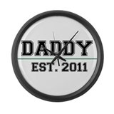 Daddy, Est. 2011 Large Wall Clock
