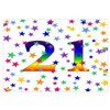 Rainbow Stars 21st Birthday Wall Art