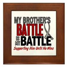 My Battle Too Brain Cancer Framed Tile