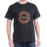 Tibetan Tribal Sun Design (Red/Gold) Black T-Shirt