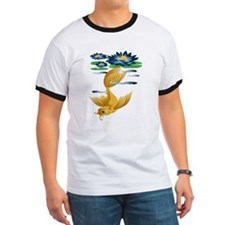 Gold Koi and Deep Blue Lilies T