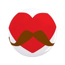 "Red Heart Mustache 3.5"" Button"