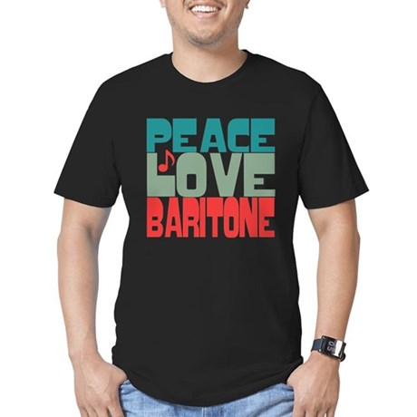 Peace Love Baritone Men's Fitted T-Shirt (dark)