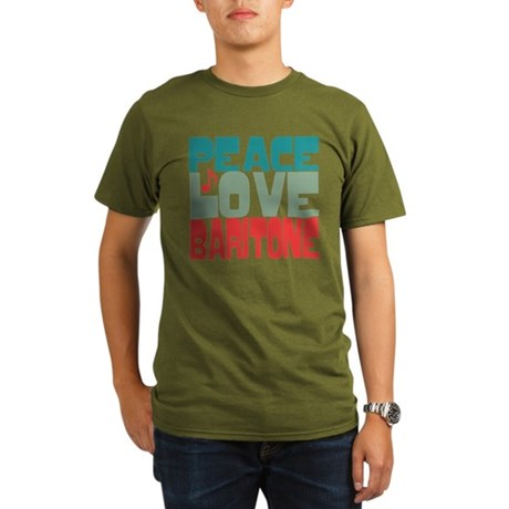 Peace Love Baritone Organic Men's T-Shirt (dark)