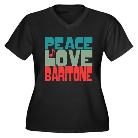 Peace Love Baritone Women's Plus Size V-Neck Dark