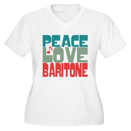 Peace Love Baritone Women's Plus Size V-Neck T-Shi