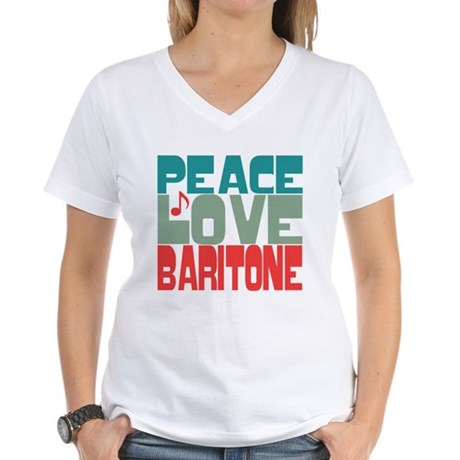 Peace Love Baritone Women's V-Neck T-Shirt