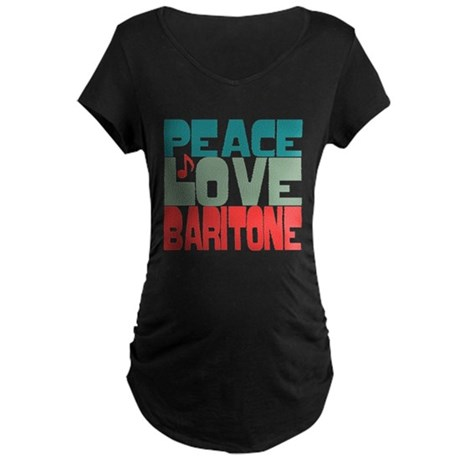 Peace Love Baritone Maternity Dark T-Shirt