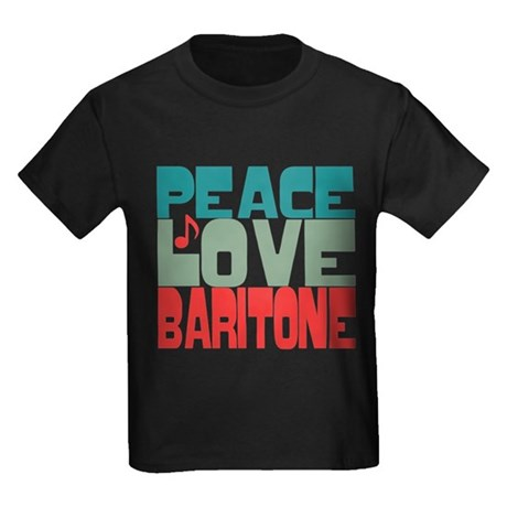 Peace Love Baritone Kids Dark T-Shirt