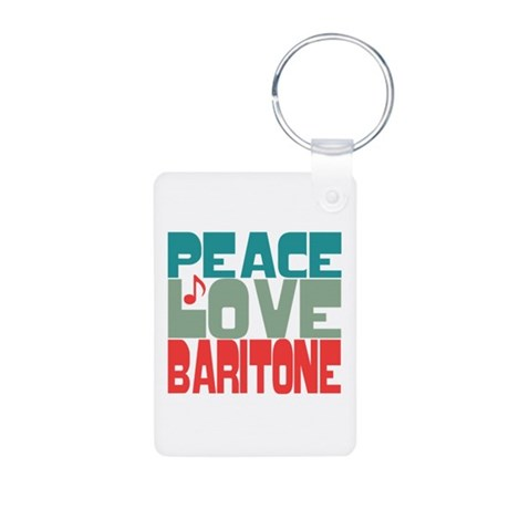 Peace Love Baritone Aluminum Photo Keychain