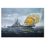 USS Massachusetts - Final Bombardment Wall Art