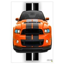 New Mustang GT Orange Wall Art