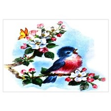 Cute Bluebird Singing Wall Art