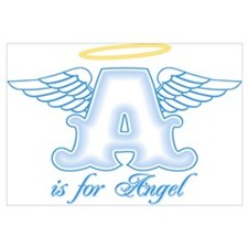 A is for Angel Blue Wall Art
