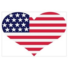 US flag heart Wall Art